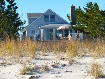 All of the living areas of the home are above the dune line to maximize the view