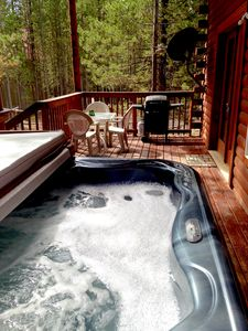 View of the rest of the deck from the hot tub