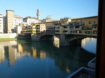 Photo for Modern apartment in stunning location, riverfront, overlooking Ponte Vecchio
