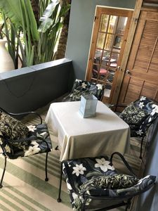 A comfortable covered seating area