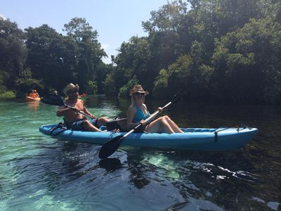The water is a warm 72 degrees, all year round, with kayaks, canoe and bbq grill