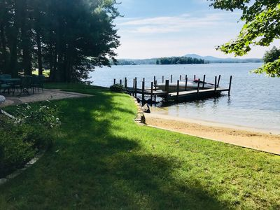 Photo for Lake Winnipesaukee in Meredith! Walk-in sandy beach, dock, fire-pit, and a/c!