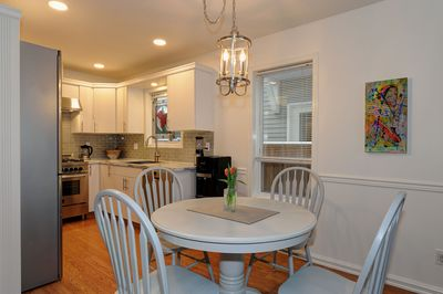 The kitchen and dining room provide an open space to prepare and relax