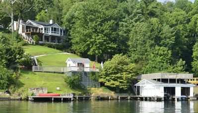 The refurbished Queen of the Lake awaits your visit. Note sloping walk to lake