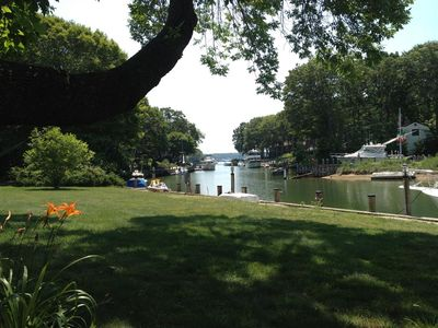 Idyllic setting with relaxing views of Shelter Island and Peconic Bay.