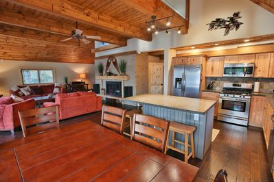 Dining and Kitchen with sunset lake view !