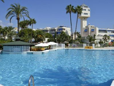 Photo for Torremolinos: Apartment in luxury urbanization 1st line beach