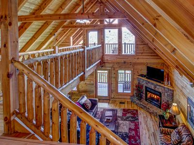Photo for Luxurious cabin with private hot tub, three levels of decks, and amazing views!