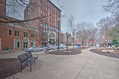 When you walk out of your apartment you'll be in the heart of Market Square.