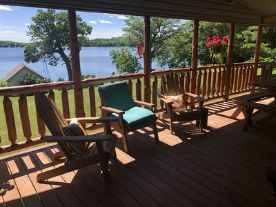 Front porch with elevated views of Big Pine Lake