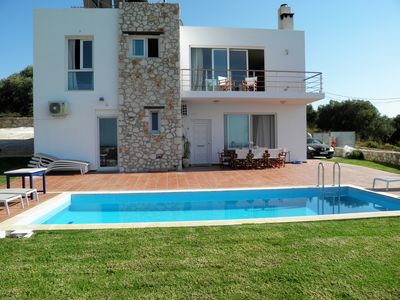 Photo for Villa DIMITRA with pool and spectacular view, 1,5 km from the Beach, (NEW 2018)