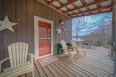 Front porch with Adirondacks