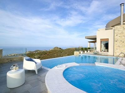 Photo for Axelia Villa - Stylish Villa with Heated Saltwater-Infinity Pool & Spectacular Sea Views -Free WiFi