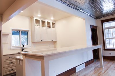 HUGE, newly updated kitchen on the main level. This space has the capacity to host up to 30 people.