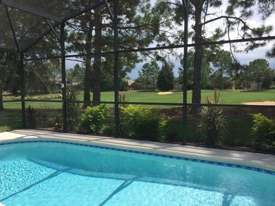 private pool with georgious views on the golf