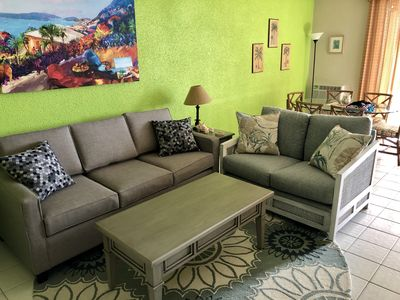 Newly updated: ALL NEW living room furniture, king bed, bedding, sleeper sofa, beach chairs, cooler, cookware and more!