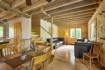 The interior of the cabin has a rustic vibe.