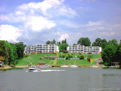Great pic of the condos, pavilion, pool, boat ramp and boat slips from the lake.
