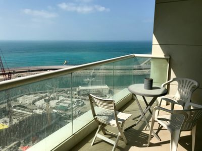 Photo for Family friendly sea view luxury apartment with private beach access in JBR Walk