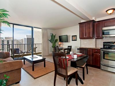 Photo for Luxurious Ocean View Waikiki Sunset Condo, Pool, Free Parking, Full Kitchen!