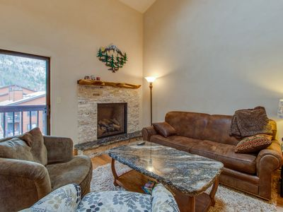 Photo for Updated condo, huge deck over looks creek and mountains, shared hot tubs/pool