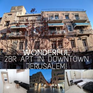 Best Midsize 2 Bedrooms Apt in Downtown Jerusalem