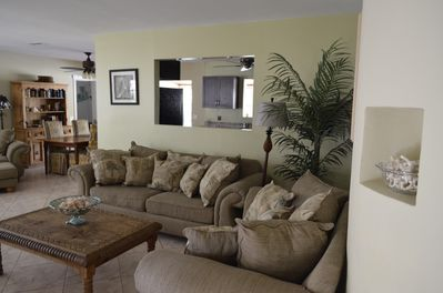 Spacious living room, 2 love seats, full size sofa, cable tv, double lounger