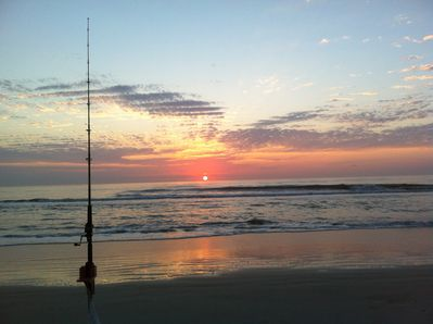 a morning fish on the beach