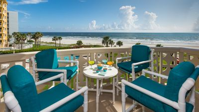 Photo for Gorgeous Oceanfront Condo*Walk to Flagler*Updated Beachy Chic* Best NSB Location