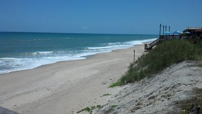 Private beach access looking south.The deck is part of Capola's