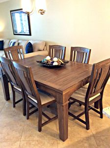 Dining area with seating for six