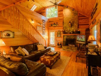 Photo for 3BR, Hot Tub, Fire Pit, Vaulted Ceiling, Stone Fireplace, Close to Tweetsie, Valle Crucis, Boone, NC