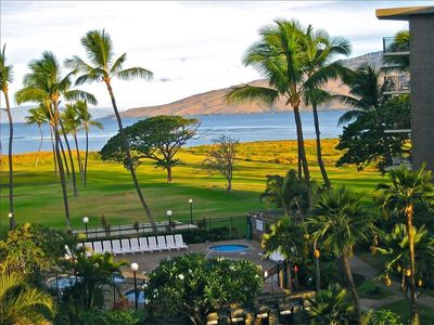 View from our lanai, two islands-West Maui and Lanai views