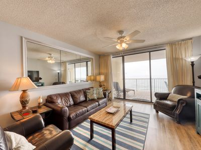 Photo for Sky-high, Gulf front condo w/ shared pools, hot tub, & tennis - great for groups