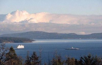Deck view of ferries and Gulf Islands