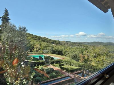 Photo for Villa with private pool, WIFI, TV, patio, panoramic view, parking, close to Greve In Chianti