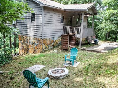 Photo for 2BR/2BA Cabin With A Mountain Views, Sleeps 4, Indoor Sunken Hot Tub, Charcoal Grill, Pet Friendly,