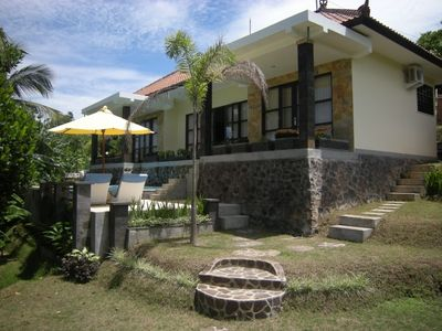 Photo for Beautiful villa on a hill overlooking the sea, mountains and rice field