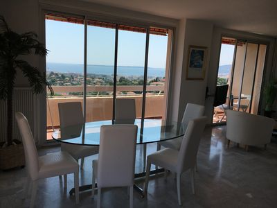 Photo for Magnificent 3 rooms heights Antibes exceptional sea view roof terrace
