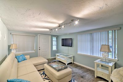 Relax in the comfortably furnished den with your crew of up to 10.