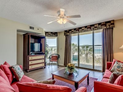 Photo for Crescent Shores 102, 3 Bedroom Beachfront Condo, Hot Tub and Free Wi-Fi!