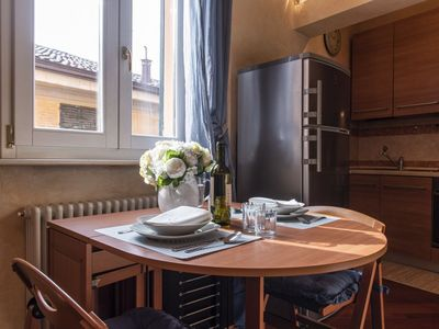Photo for Bright renovated and cozy one bedroom apartment in the heart of the historic center of Bologna.