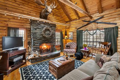 Moose Log Cabin with large wood burning fire place