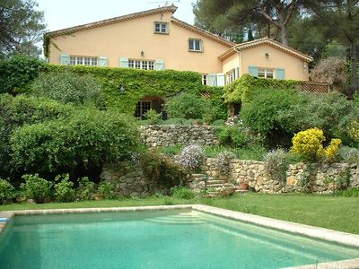 Photo for Valbonne, Cote d'Azur, Provencal villa, sea view, pool in a park with trees
