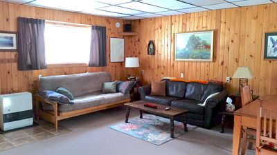 We have a futon that lays out to a double bed in case you have extra guests!