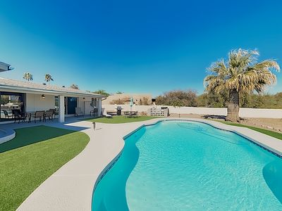 Photo for New Listing! Luxe Getaway w/ Private Pool, Patio & Mtn Views, Walk to Park