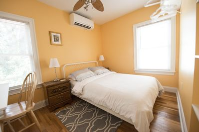 Full size bedroom #2 with ceiling fan and study space