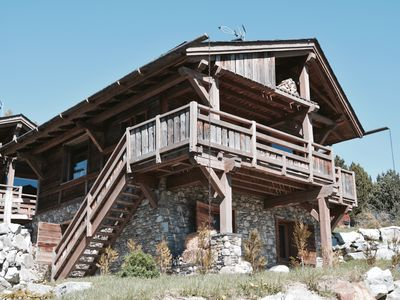 Photo for Modern chalet dressed in old wood, near ski resort, free WiFi
