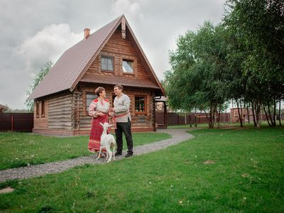 Neat wooden Russian-style house izba in a quiet place