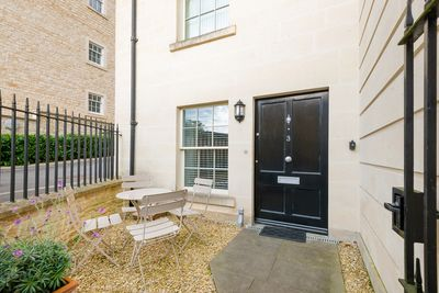 Your own front door and suntrap patio
